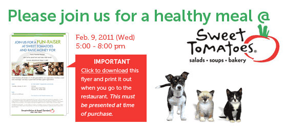 Happy New Year! Please join us for a healthy meal at Sweet Tomatos. Download this flyer and print it out when you go to the restaurant. This must be presented at time of purchase.